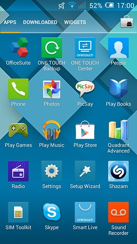 App tray ของ Alcatel OneTouch Pop C7