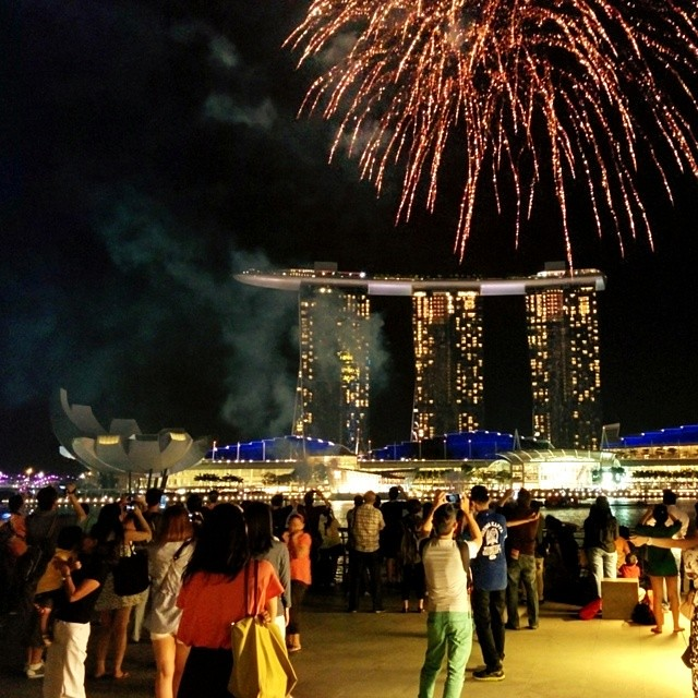 Saturday night fireworks in Singapore.