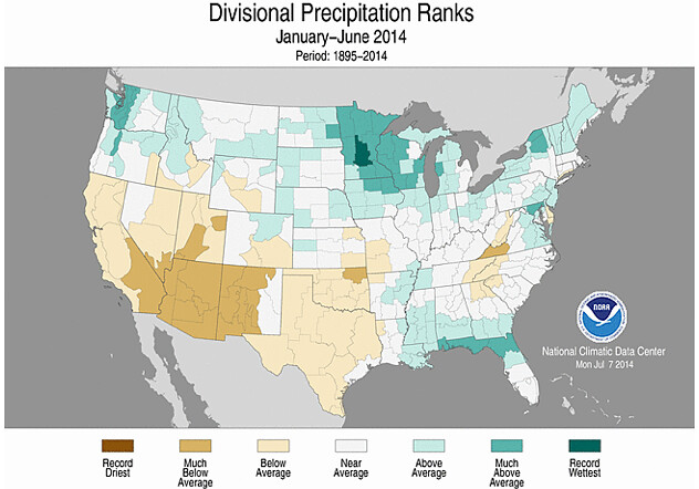 Divisional precipitation ranks Jan - Jun, 2014 USA