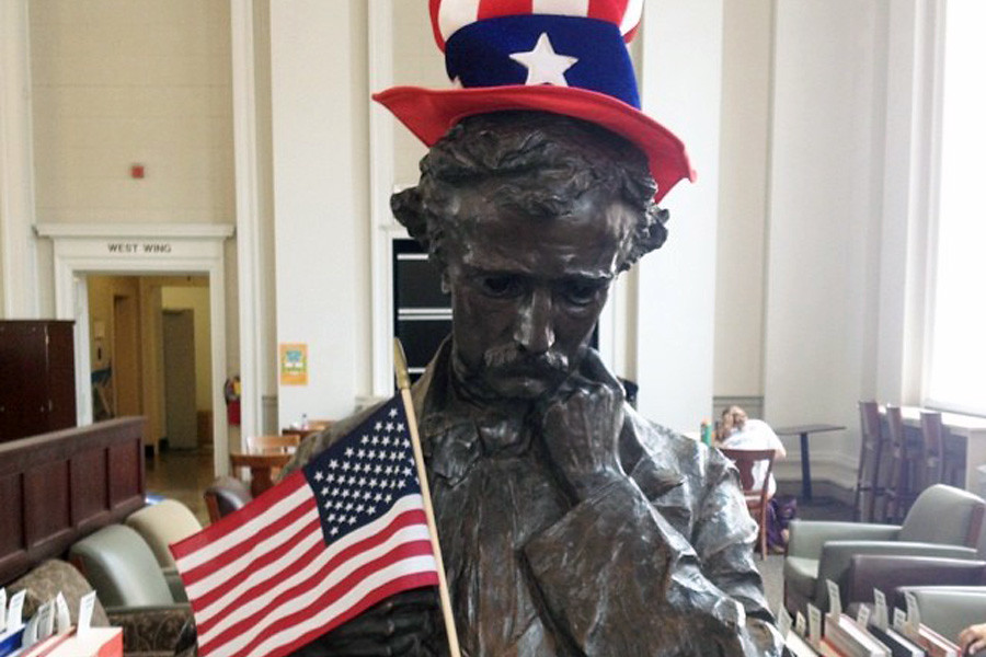July 3, 2014 - Mr. Poe in Alderman Library dressed appropriately for the holiday weekend.