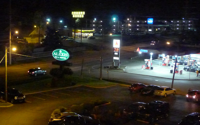 Alexis Inn Parking Lot and Citgo, At Night