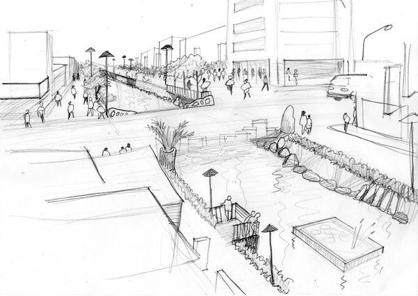 一位花蓮市民對於散步在紅毛溪旁的想像。(圖片來源:陳立)