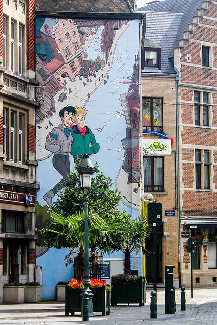 Broussaille - Frank Pé (julio de 1991). cruce de Rue du Marché au Charbon/Kolenmarkt y Rue des Teinturiers/Verversstraat