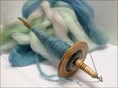 Toulouse merino-silk on a spindle