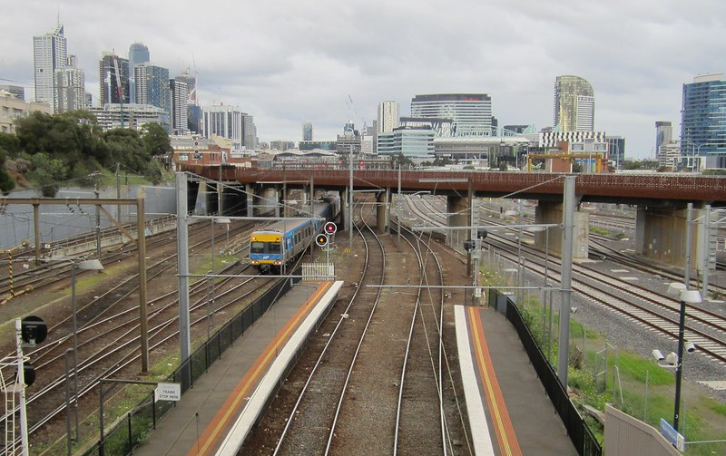 View of city and rail flyover from North Melbourne station