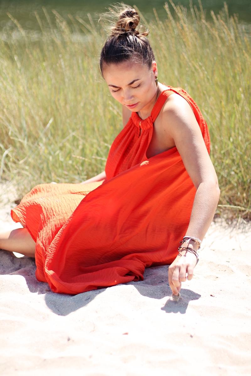 orange vestido