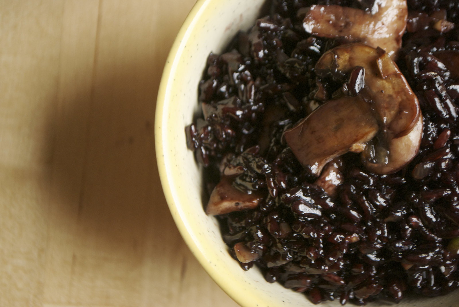 mushroom fried black rice, close up