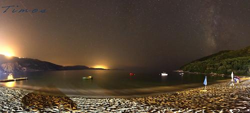 beach night way panoramic milky lichnos