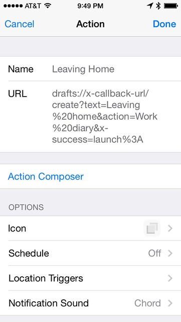 Launch Center Pro diary action