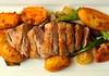 Pan Fried Duck Beast, Roast Potatoes, Green Beans