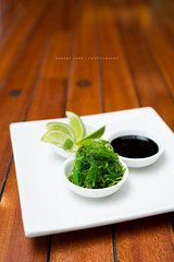 Wakame, lime and soy ginger reduction