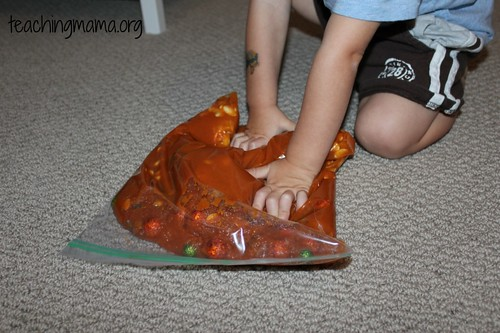 Pumpkin Sensory Bag with P for Pumpkin (Photo from Teaching Mama)