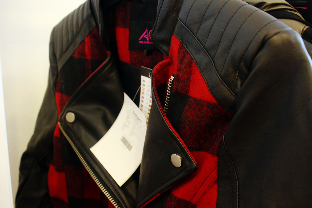 Leather-jacket-with-tartan-print-New-Yorker