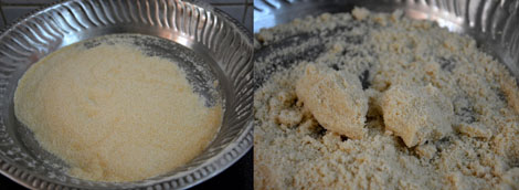 preparation for rice-puttu
