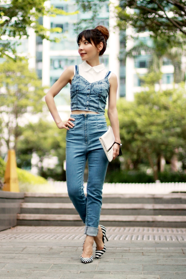 Double Denims & Scallops Collar