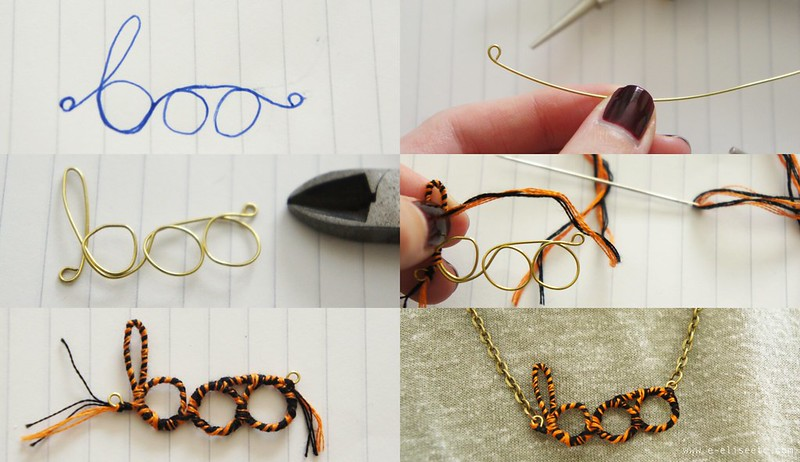 boo necklace step by step