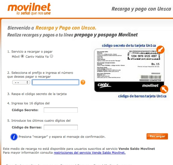 recarga movilnet internet