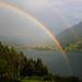 Regenbogen über dem Großen Alpsee und Immenstadt