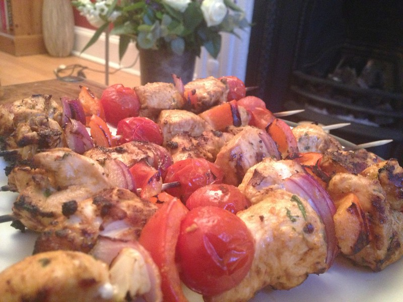 Chipotle Chilli Chicken : Kebabs Close Up