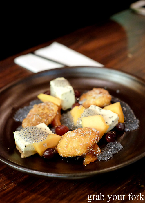 Hoddeok Busan style doughnuts with black sesame parfait at Kim Restaurant, Potts Point