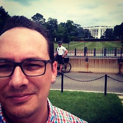 It's hard looking cool on a bike and in shorts. #whitehouse #secretservice