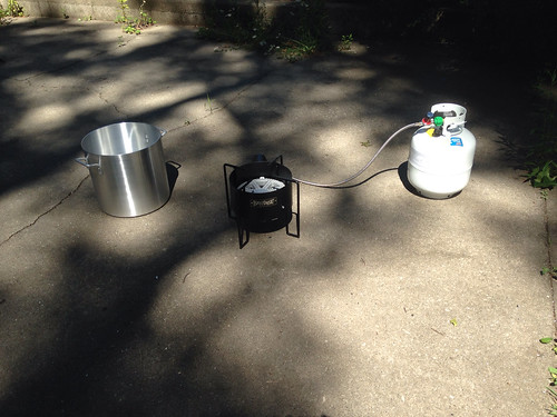 Our new kettle, burner, and propane tank for five-gallon batches