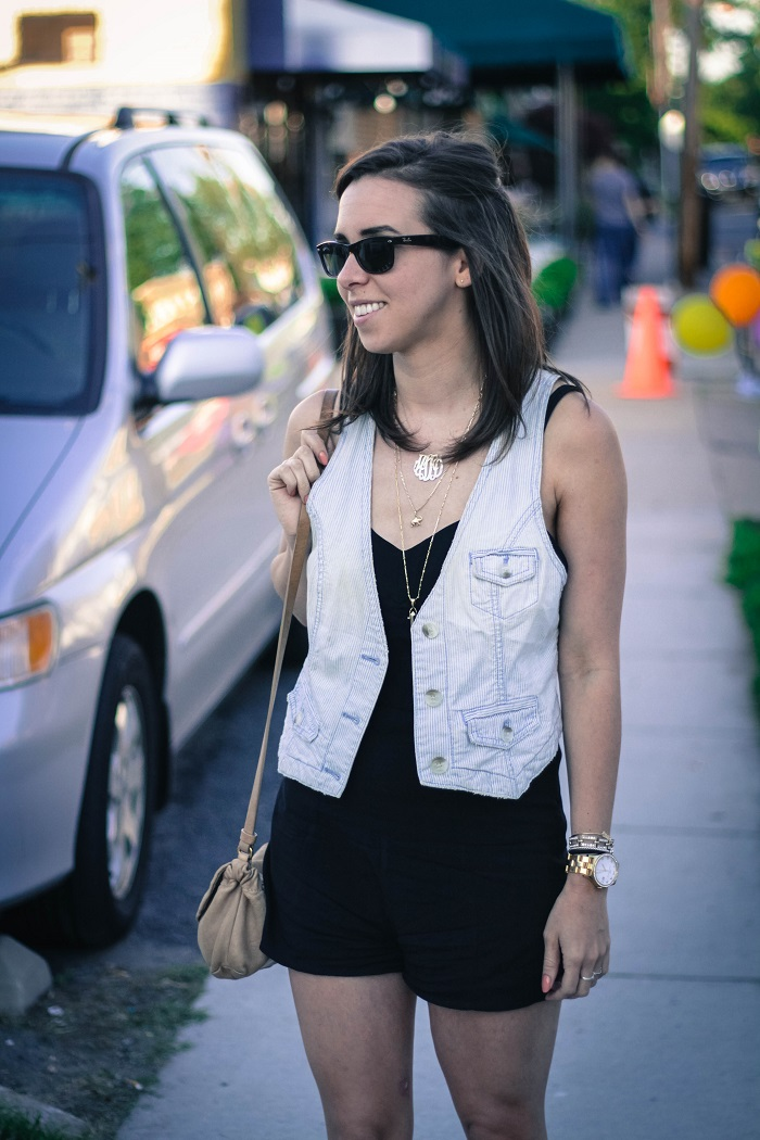 how to wear a vest & romper | A.Viza Style | black romper. dc blogger. chambray vest. 10 crosby flats.