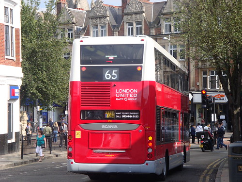 Rear of London United SP102 (YOTB/London United 2000s Livery) on Route 65, Ealing Broadway