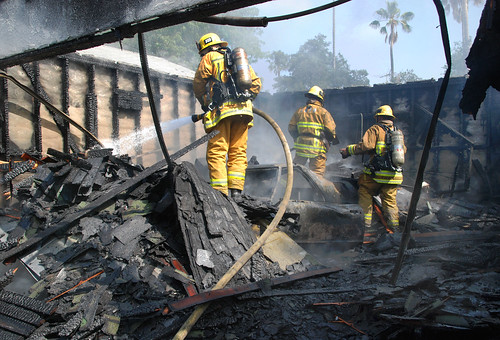 Pair Injured Rescuing Gravely Burned Man from Mission Hills Garage. © Photo by Mike Meadows, click to view more...