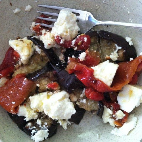 Loving my lunch! Grilled eggplant, roasted red peppers, and feta cheese