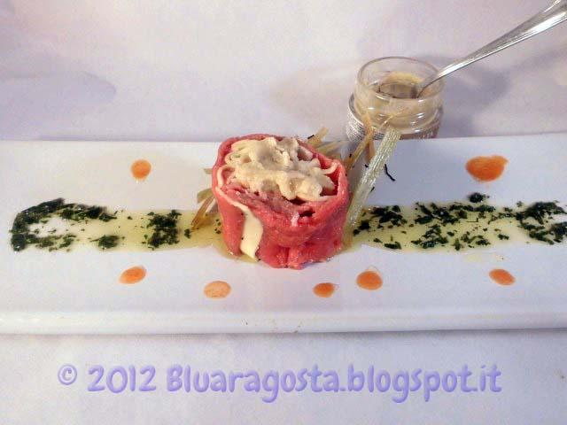 06-maki di carpaccio e tagliatelle con burro al tartufo
