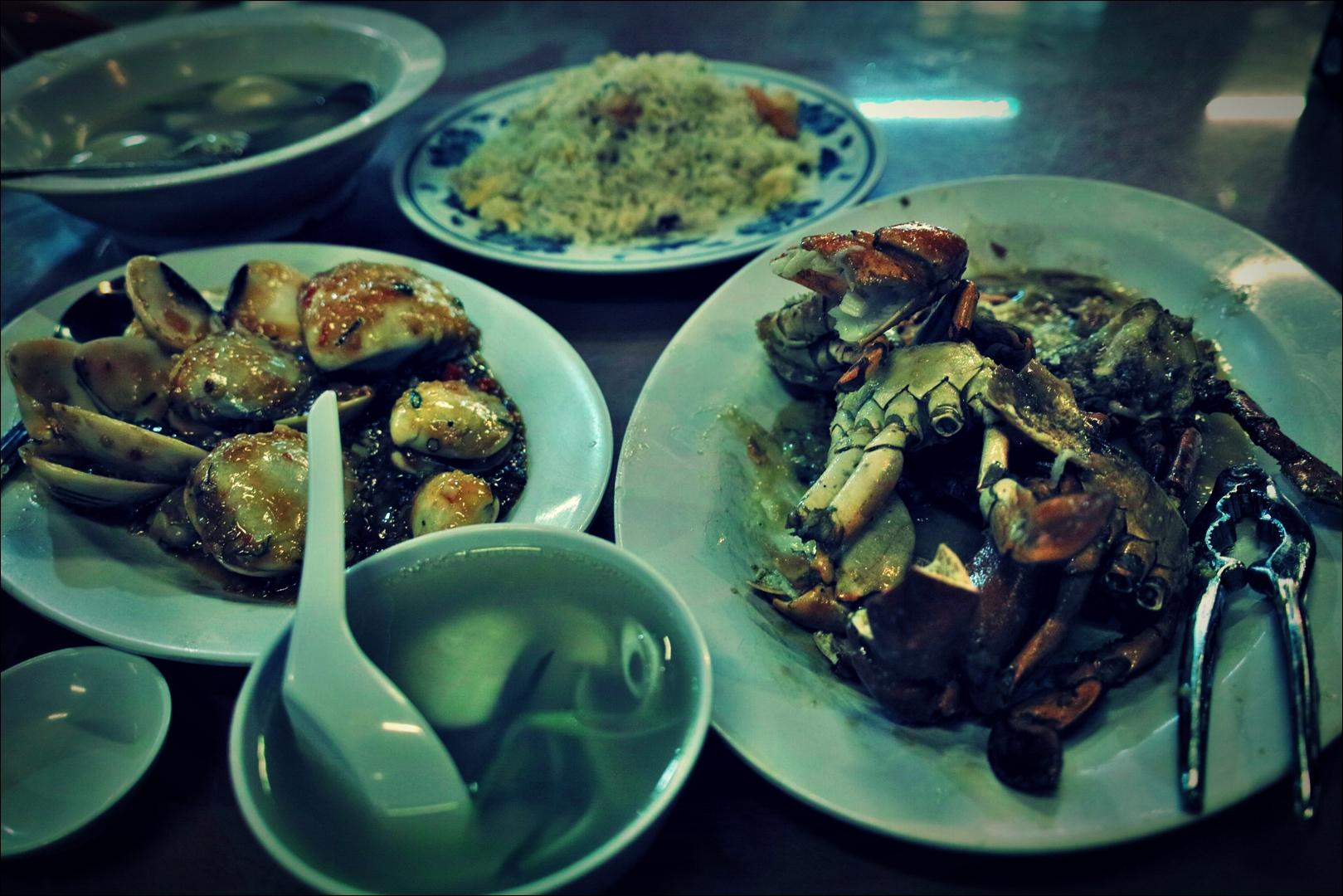 게, 칠리 조개, 조개탕 -'코타키나발루 웰컴 시푸드 레스토랑 Welcome Seafood Restaurant Kota Kinabalu'