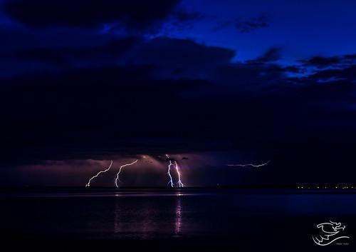 blue canada storm water weather night clouds landscape purple dusk lakes alberta lightning lacstanne drewmayphotography