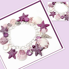 polymer clay Raspberry Starfish & Florida Shell Bracelet