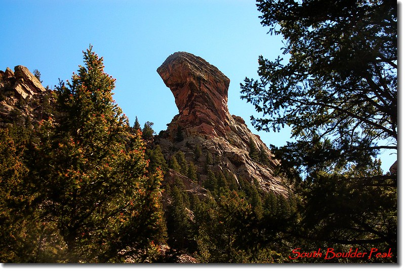 The Devil's Thumb as seen from the Shadow Canyon trail 1