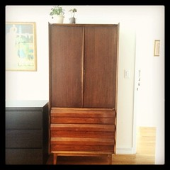 I'm having a love affair. And it's with this Dutch men's armoire we bought on Craigslist. #midcentury #armoire #design