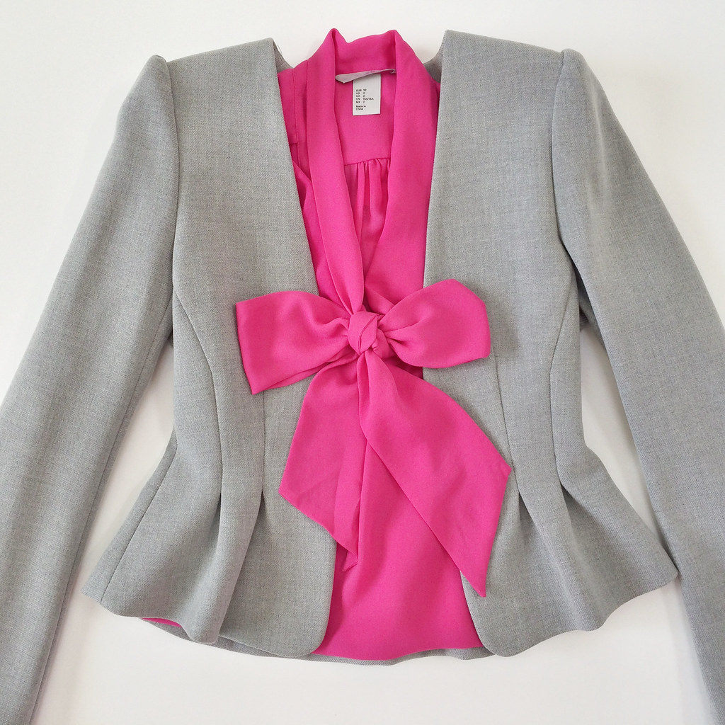 H&M Gray Ruched Blazer and Pink Bow Blouse