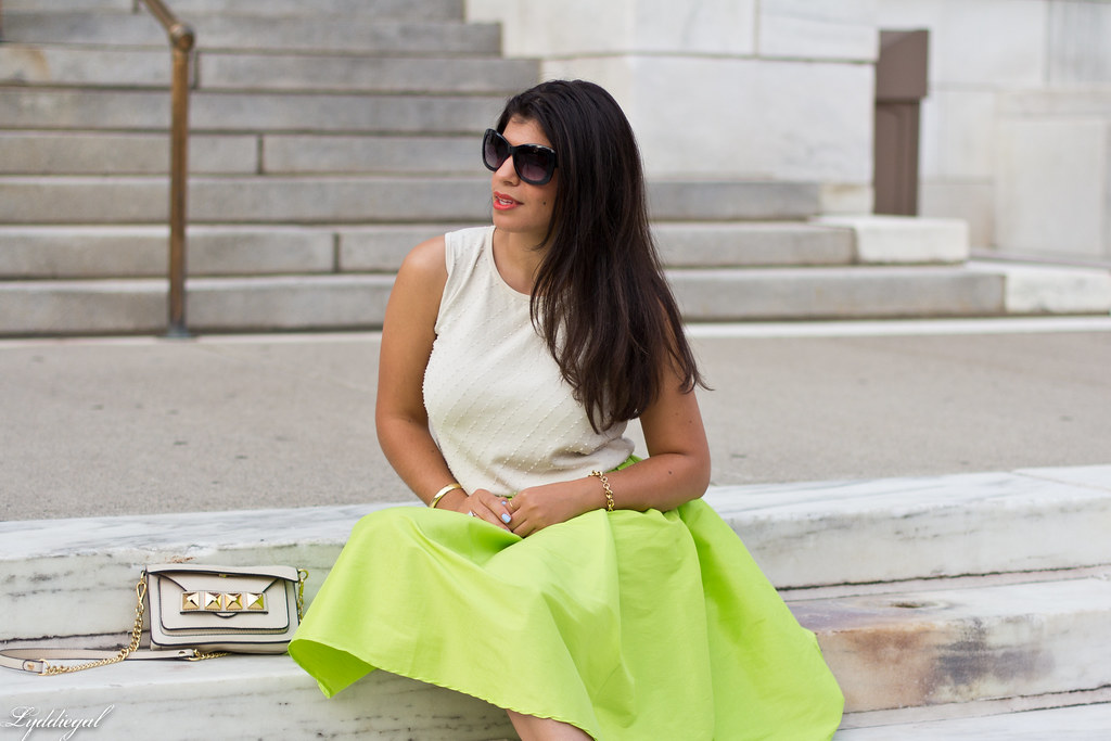 poofy neon green skirt, beaded silk top, grayson bag-5.jpg