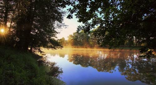 morning trees water fog sunrise canon landscape mirror scenery drohiczyn cesarz marcelxyz