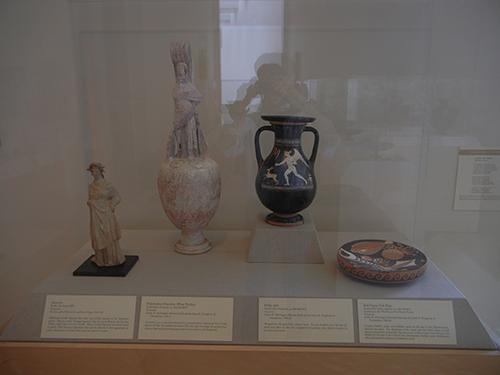 DSCN1363 _ Statuette, Polychrome Oinochoe (Wine Pitcher), Pelike (Jar), Red-Figure Fish Plate, Greek-Italy 3rd Cen.-200 BCE, Blanton Museum