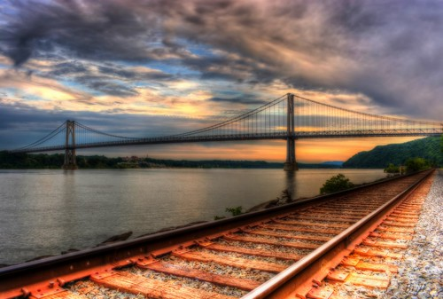 bridge trees sunset newyork water clouds buildings river nikon stones traintracks poughkeepsie highland hudsonriver newyorkstate dutchesscounty railroadtracks ulstercounty midhudsonbridge midhudsonvalley d7100 vassarhospital nikond7100 greatstateofnewyork