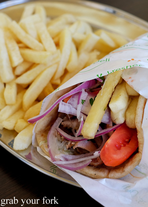 Pita pork gyros at Traditional Gyradiko, Bexley