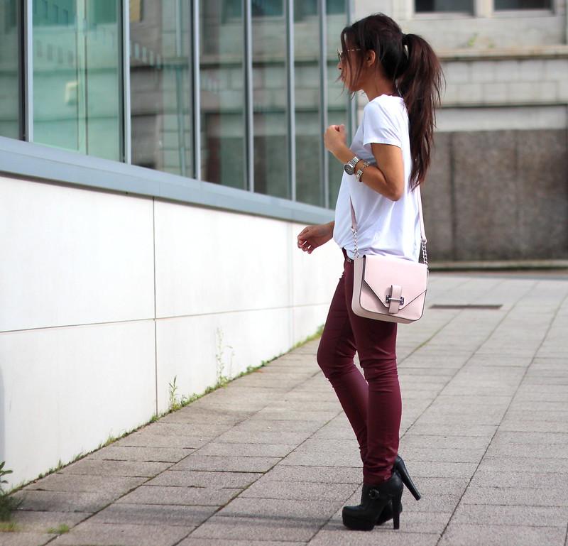Article 21 Uk Fashion & Style Blog, Primark Basic White V-Neck Tee, Casual Basic Tees, White Tee's, V-Neck T-Shirts, Mini Pink Satchel, Pink Crossbody Bag, Waxed Red Trousers, Red Trousers, uk fashion blogger, top uk blogs, best uk fashion blogs, british fashion blogs, uk chinese blogger, manchester fashion blogger