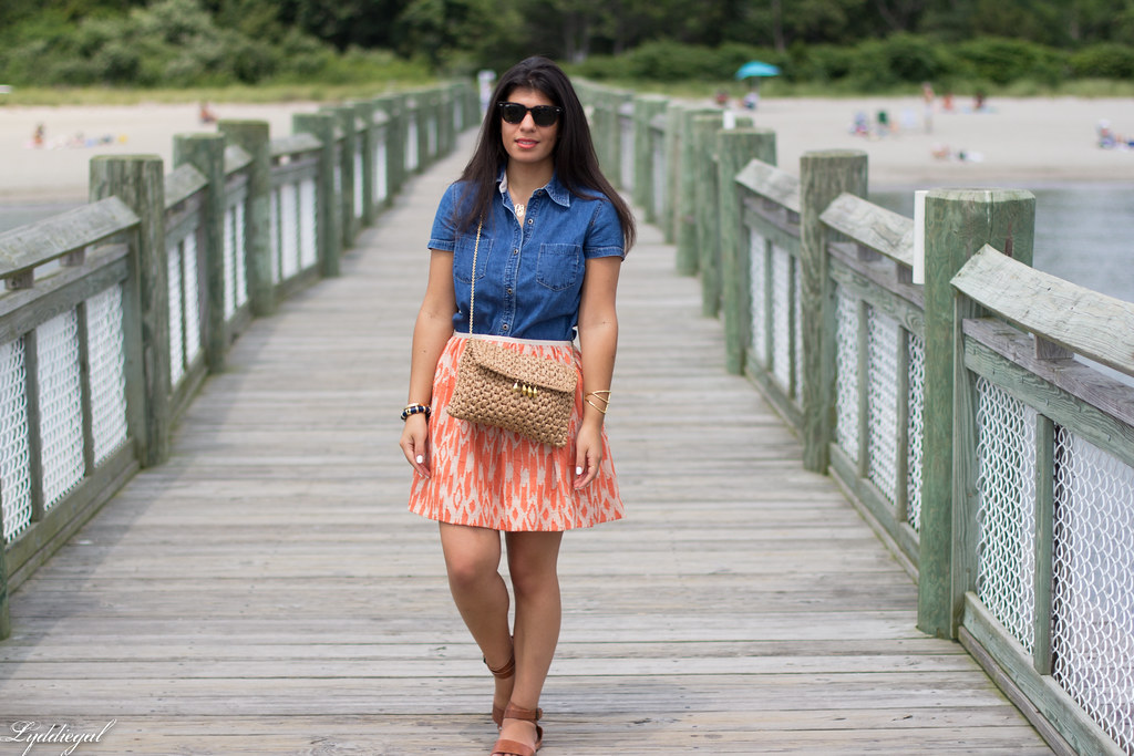 chambray shirt, orange ikat skirt-1.jpg