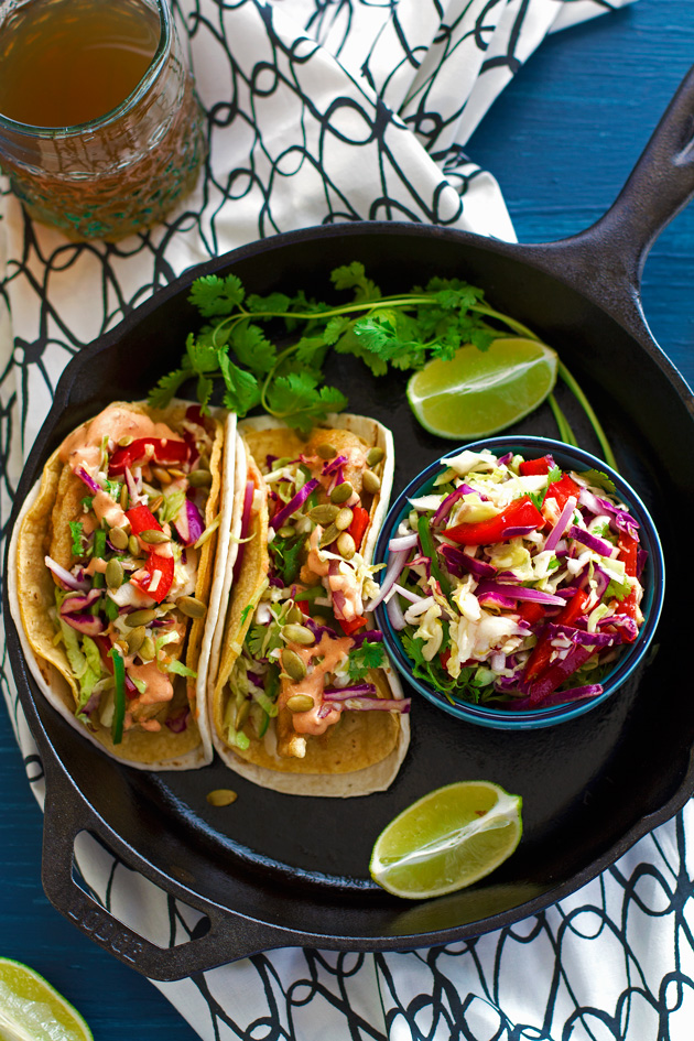 Crispy Fish Tacos with Margarita Slaw