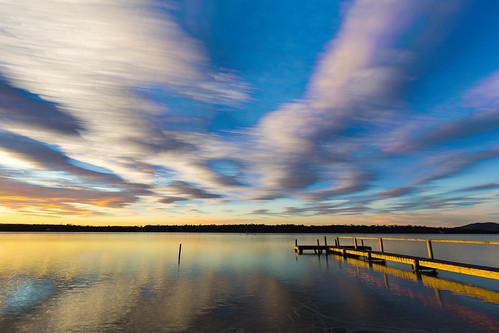 sunset sky reflection swansea sunrise reflections river landscape jetty tasmania swanriver tasmanian canonefs1022mm eastcoasttasmania canon60d lightroom4 photoshopcs6 timestack timestacking