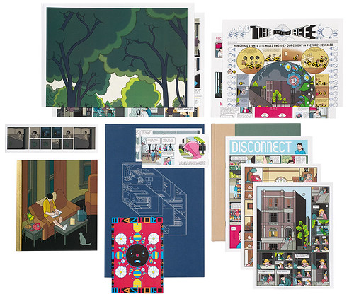 Elements from Chris Ware's giant box of Building Stories