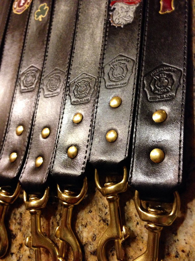 Brass hardware on custom radio straps