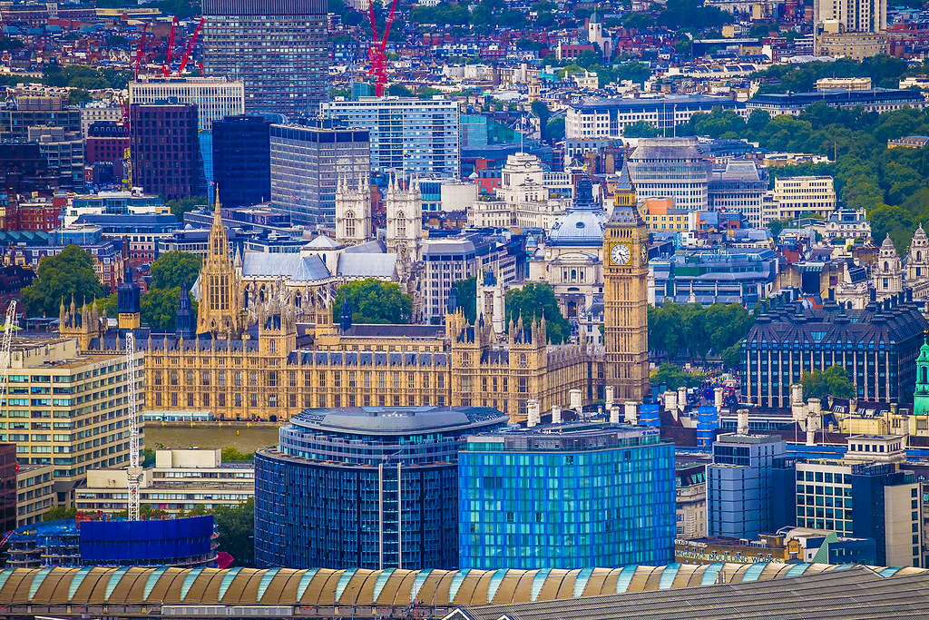 Westminster and Big Ben seen from the Shard