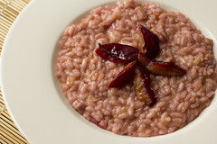 Risotto with prune and lard